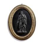 A WEDGWOOD BLACK BASALT OVAL PLAQUE OF THE GREEK PHILOSOPHER ZENO CIRCA 1775