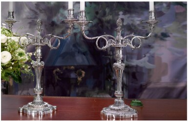 View 1. Thumbnail of Lot 28. A PAIR OF REGENCY SILVER TWO-LIGHT CANDELABRA, PAUL STORR, LONDON, 1811.