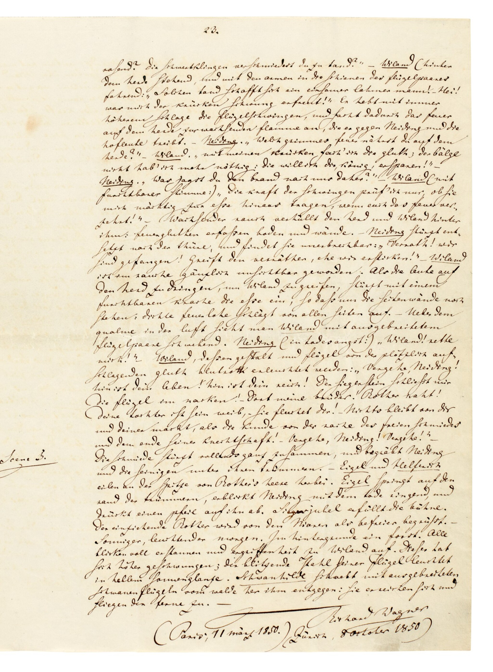 "View full screen - View 1 of Lot 44. R. Wagner. Autograph manuscript prose draft for ""Wieland der Schmied"", [WWV 82], 1850."