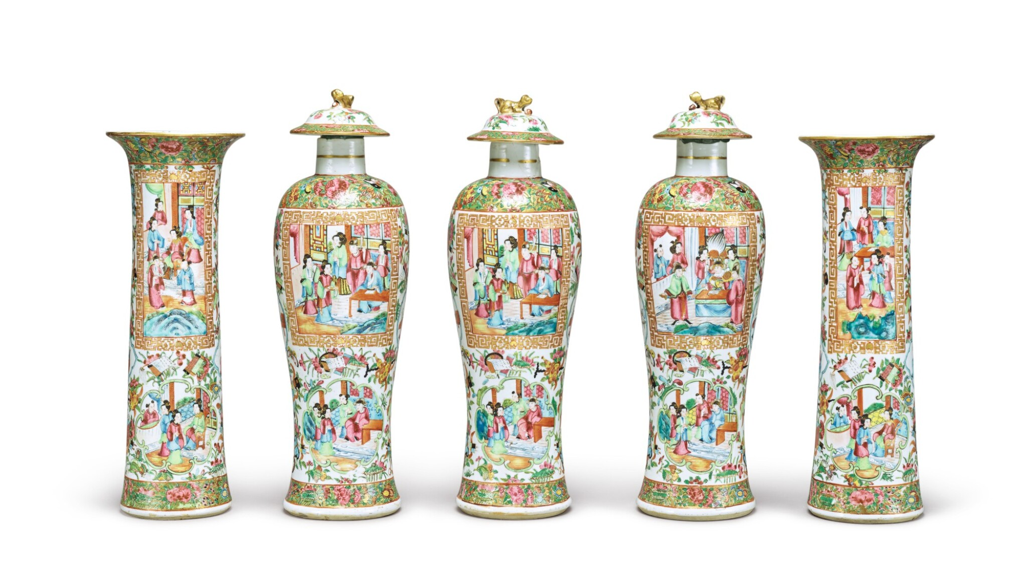 View full screen - View 1 of Lot 290. A CANTON FAMILLE-ROSE FIVE-PIECE GARNITURE, QING DYNASTY, 19TH CENTURY.