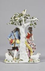 A MEISSEN FIGURE GROUP, 'THE HAND KISS' CIRCA 1738-40