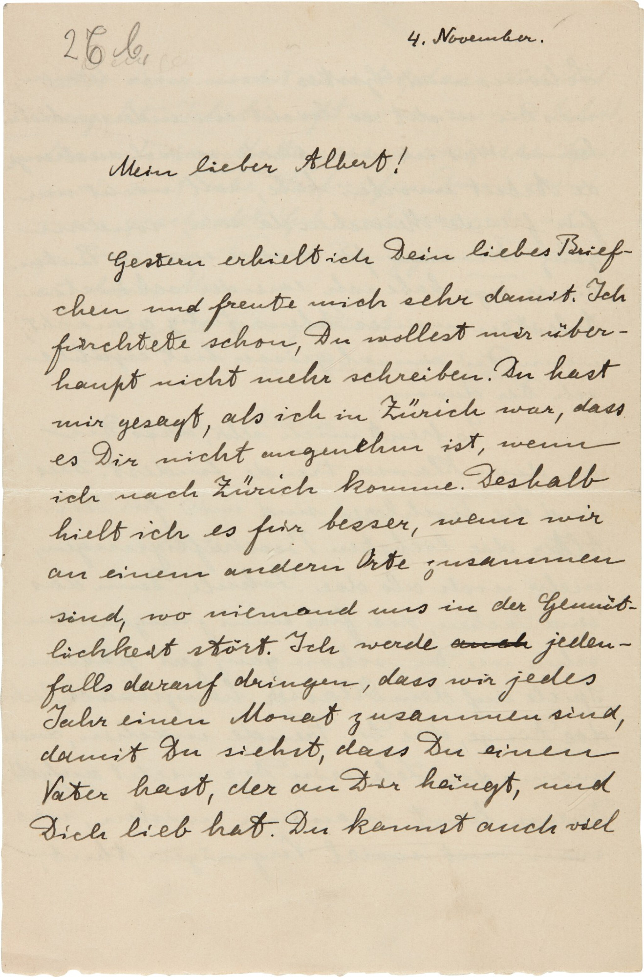 View full screen - View 1 of Lot 19. Albert Einstein   Autograph letter signed, to his son Albert, 4 November [1915].