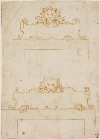 View 4. Thumbnail of Lot 522. ITALIAN SCHOOL, 17TH CENTURY   Design for an inkstand.