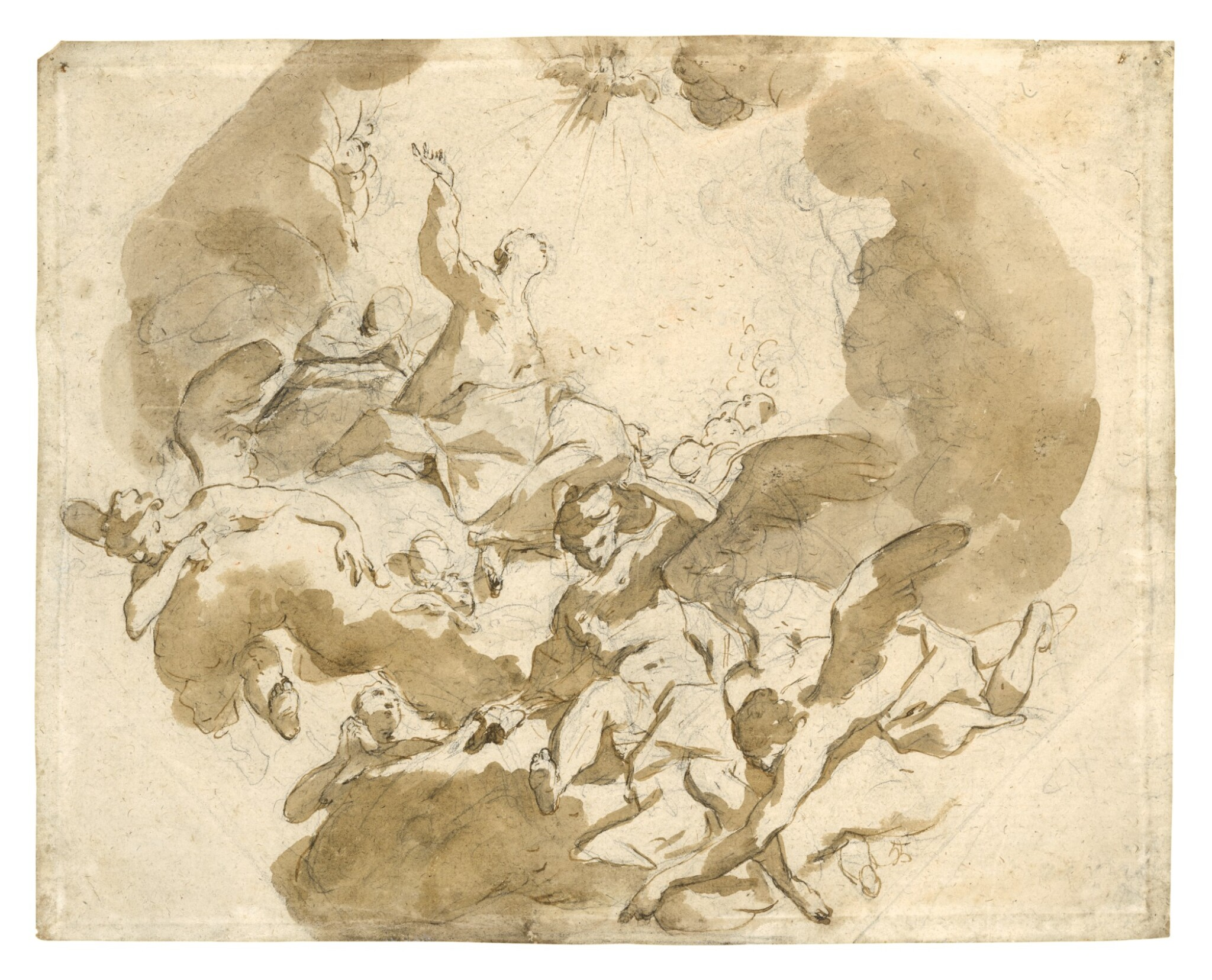 Recto: Study for the Assumption of the Virgin Verso: Studies of Drapery and two legs