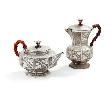 View 2. Thumbnail of Lot 126. A SILVER TEA AND COFFEE SET, GIFT FROM EMPRESS OF RUSSIA, WEISSHAUPT, MUNICH, 1839   CADEAU DE L'IMPERATRICE ALEXANDRA FEODOROVNA DE RUSSIE SERVICE À THÉ ET CAFÉ EN ARGENT, PAR WEISSHAUPT, MUNICH, 1839.