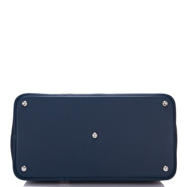 View 5. Thumbnail of Lot 17. Hermès Baseball Bolide 45cm in Bleu de Malte Evercolor Leather with Palladium Hardware.