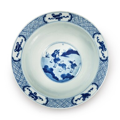 View 5. Thumbnail of Lot 34. A blue and white 'figural' bowl, Qing dynasty, Kangxi period.