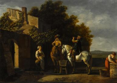 GERRIT ADRIAENSZ. BERCKHEYDE   Cavaliers on horseback resting outside an inn with a courtyard beyond