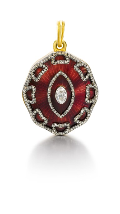 A Fabergé gold, enamel and diamond locket, Moscow, 1899-1908