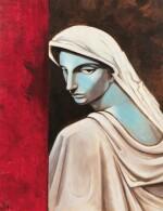 """JEAN COCTEAU. Portrait d'une tragédienne. Huile sur toile, signée """"J"""" et datée 51 en bas à gauche. 146 x 114 cm"""