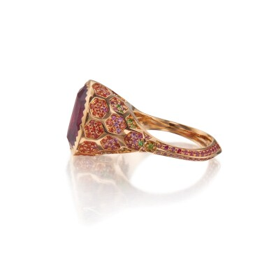 View 2. Thumbnail of Lot 146. Nigel O 'Reilly | Garnet, Fancy Colored Sapphire and Colored Diamond 'Plato's Garnet' Ring.