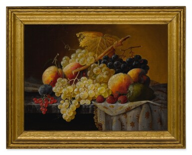 View 5. Thumbnail of Lot 8. SEVERIN ROESEN   STILL LIFE OF FRUIT WITH COMPOTE OF STRAWBERRIES AND STILL LIFE WITH FRUIT AND EMBROIDERED CLOTH: A PAIR OF WORKS.