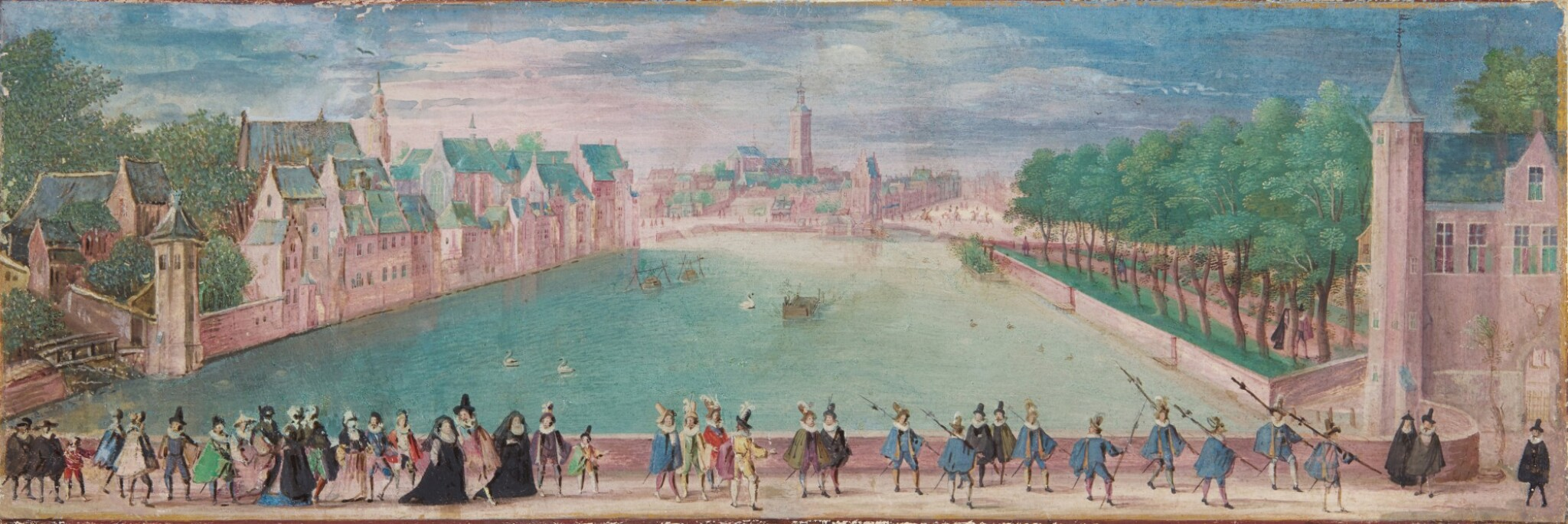 View 1 of Lot 2. View of The Hague with Elegant Figures Promenading.