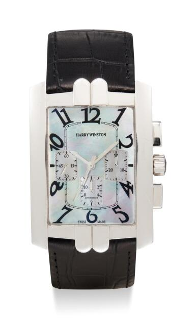 View 1. Thumbnail of Lot 8004. HARRY WINSTON   AVENUE CHRONO, REFERENCE 330/MCA,  A WHITE GOLD CHRONOGRAPH WRISTWATCH WITH MOTHER-OF-PEARL DIAL, CIRCA 2010.
