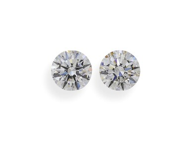 A Pair of 1.58 and 1.56 Carat Round Diamonds, E and F Color, VS2 and SI1 Clarity