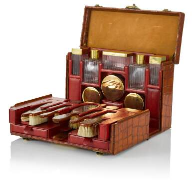 View 1. Thumbnail of Lot 98. Art Deco Torino Crocodile Skin Gentleman's Dressing Case, Complete with all of the Original Fittings commissioned in 1934..