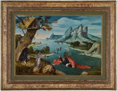 View 2. Thumbnail of Lot 4. Saint Christopher carrying the Christ Child in an extensive river landscape   《聖克里斯多福揹著聖嬰橫渡大河》.