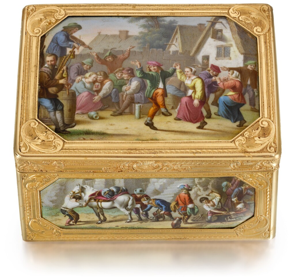 A GOLD AND ENAMEL 'HISTORISMUS' SNUFF BOX, PROBABLY AUSTRIAN, MID TO LATE 19TH CENTURY