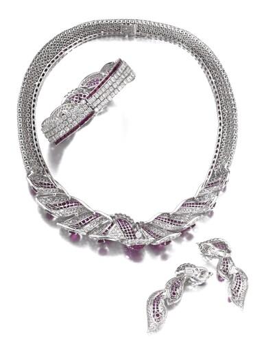 View 3. Thumbnail of Lot 639. Mouawad   Ruby and diamond parure   Mouawad   紅寶石配鑽石首飾套裝.