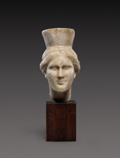 View 1. Thumbnail of Lot 92. A Late Hellenistic Marble Head of a Goddess, probably Kybele, 2nd/1st Century B.C..