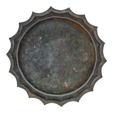 View 5. Thumbnail of Lot 74. A rare and important Khurasan silver-inlaid brass basin, probably Herat, circa 1200.