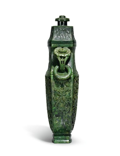 View 4. Thumbnail of Lot 222. A large spinach jade vase and cover, Qing Dynasty, Qianlong period   清乾隆 碧玉番蓮八吉祥紋活環耳蓋瓶.