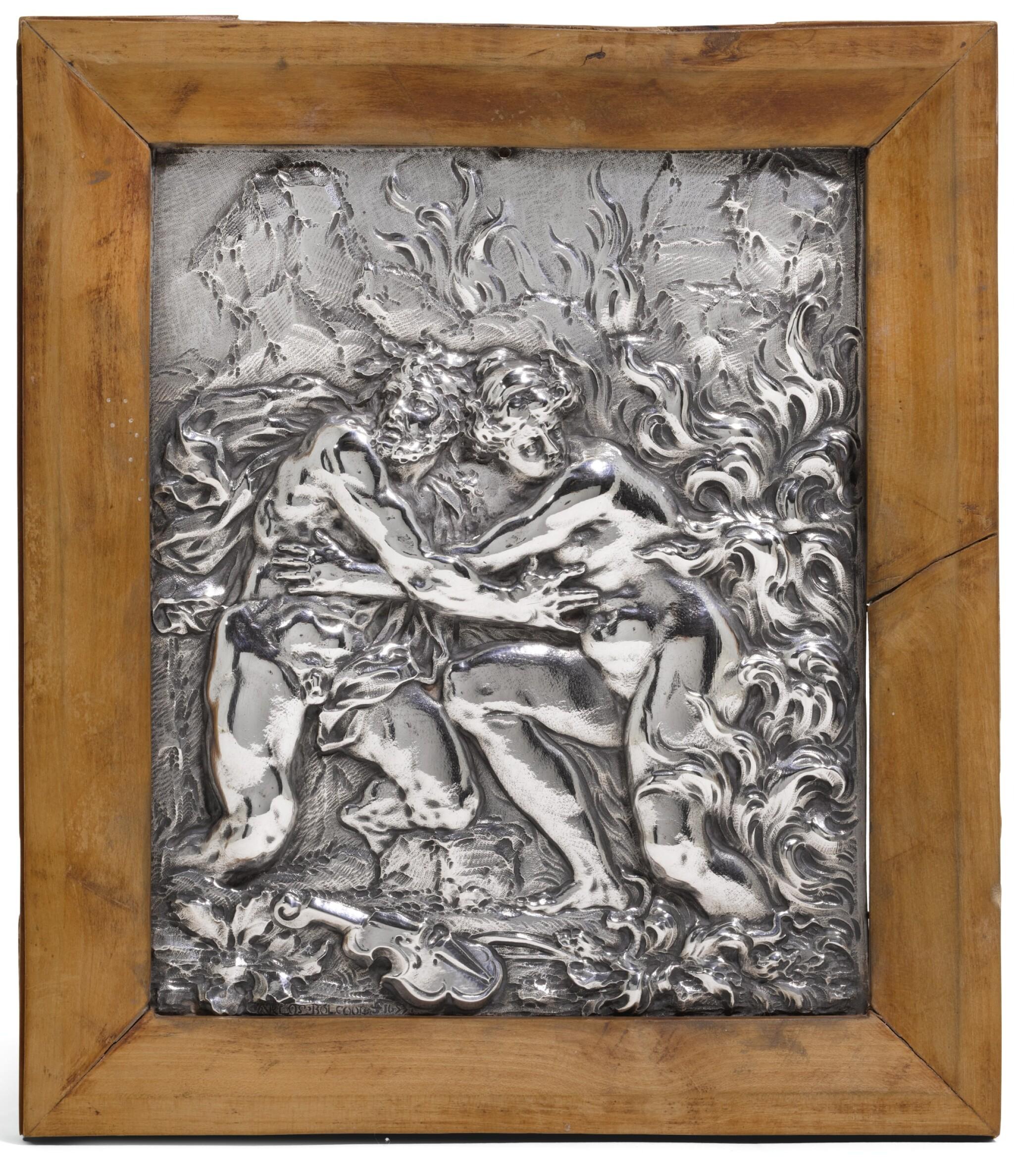 View full screen - View 1 of Lot 86. A FINE ITALIAN BAROQUE SILVER PLAQUE, CAREL BOLCOOL, GENOA OR ROME, CIRCA 1677.