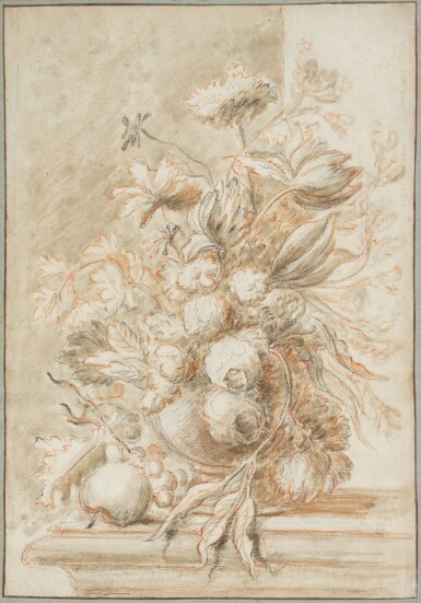 ATTRIBUTED TO JAN VAN HUYSUM | Still life with a vase of flowers and fruit