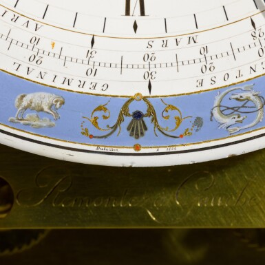 View 6. Thumbnail of Lot 60. A Consulate mahogany month-going table regulator with remontoire, equation of time and revolutionary and Gregorian calendars, Jean-Francois Cronier, Paris, dated 1800.