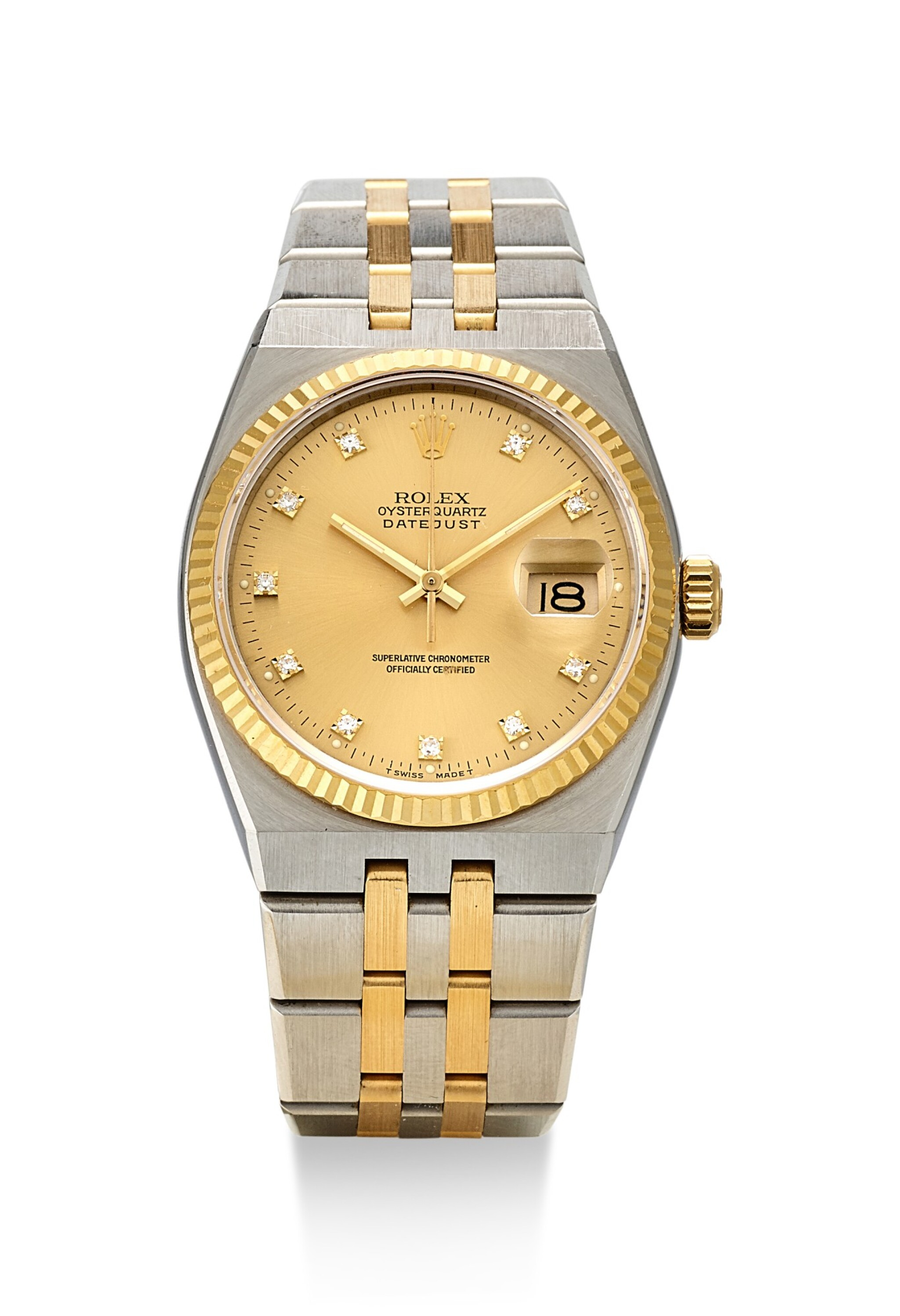 View full screen - View 1 of Lot 8063. ROLEX   DATEJUST, REFERENCE 17013, A YELLOW GOLD, STAINLESS STEEL AND DIAMOND-SET WRISTWATCH WITH BRACELET, CIRCA 1986.