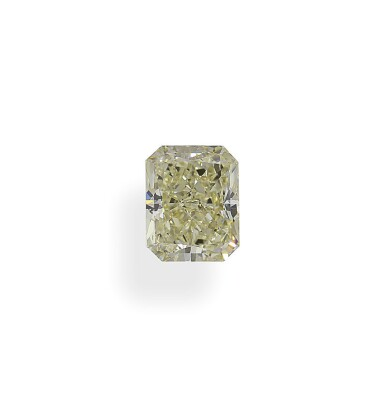 A 1.57 Carat Fancy Light Yellow Cut-Cornered Rectangular Modified Brilliant-Cut Diamond, SI1 Clarity
