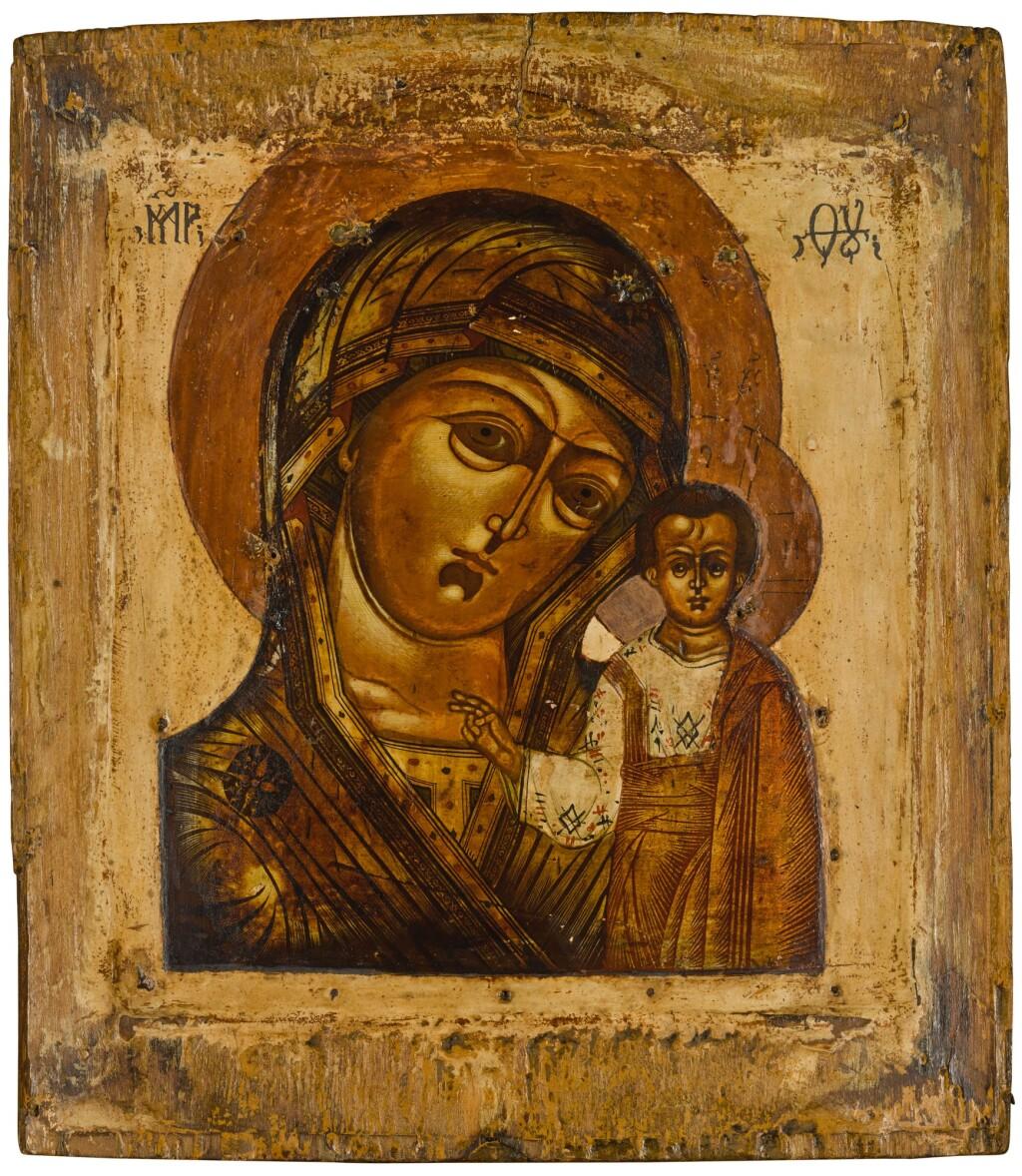 AN ICON OF THE KAZANSKAYA MOTHER OF GOD, RUSSIAN, 19TH CENTURY