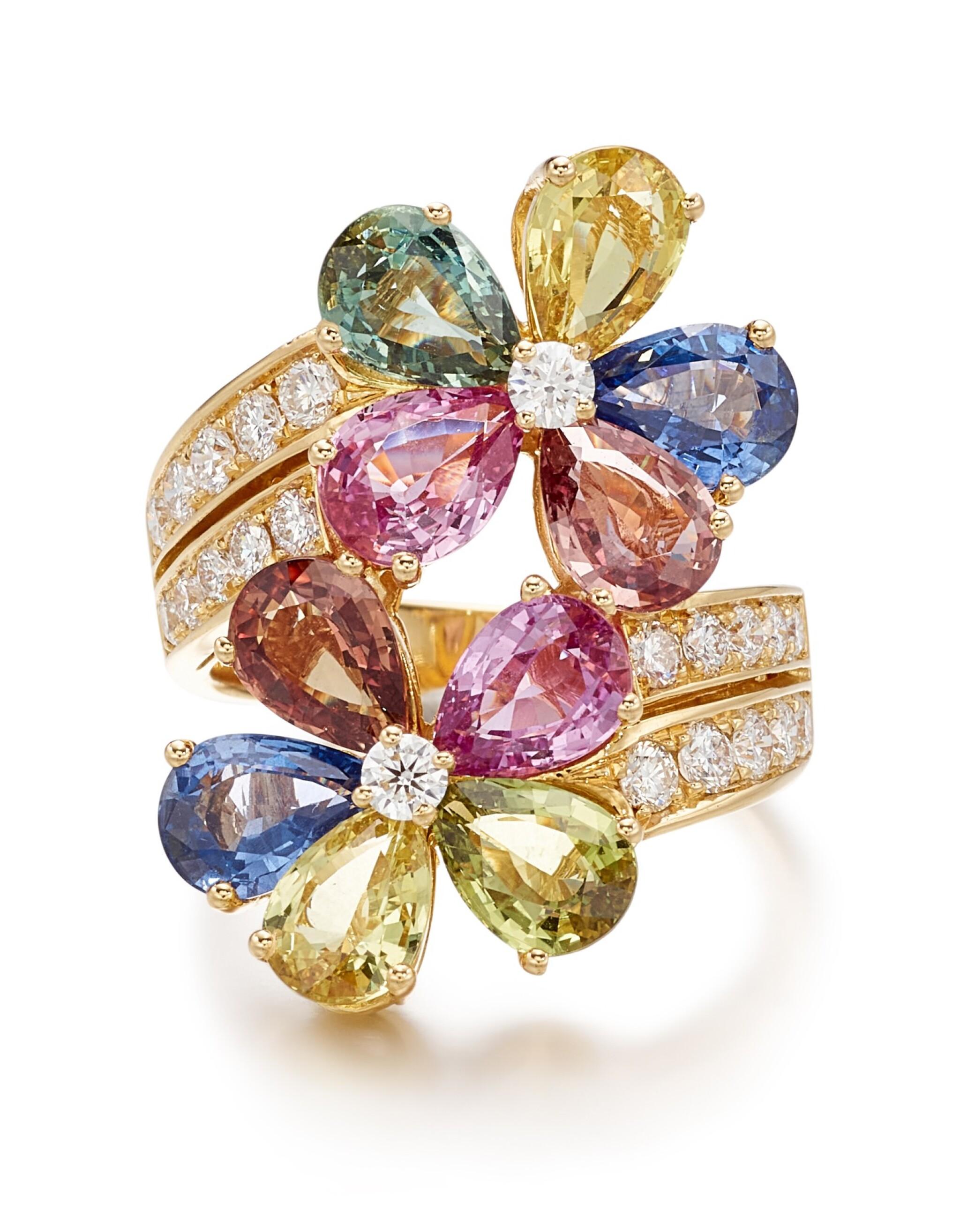 View full screen - View 1 of Lot 1645.  BULGARI | GEM SET AND DIAMOND RING | 寶格麗 | 寶石 配 鑽石 戒指.