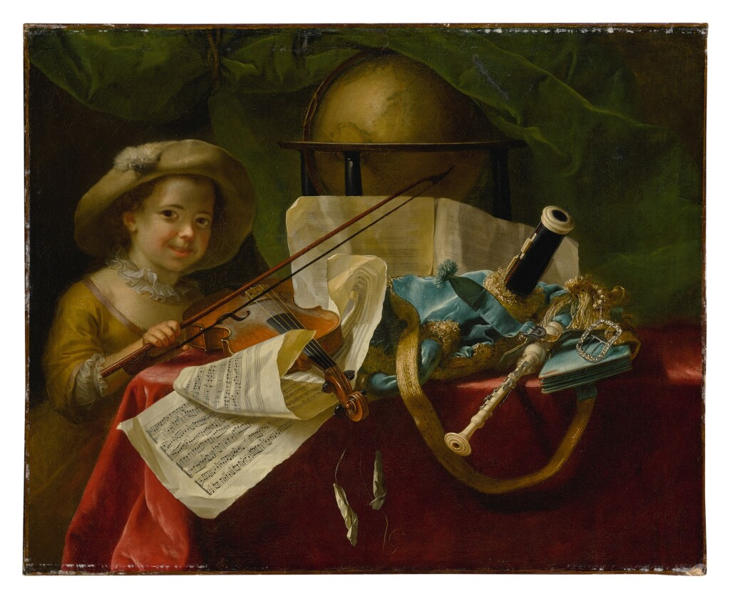 NICOLAS-HENRY JEAURAT DE BERTRY   STILL LIFE OF MUSICAL INSTRUMENTS, A GLOBE AND OTHER OBJECTS ON A TABLE DRAPED IN A RED VELVET CLOTH, WITH A YOUNG GIRL HOLDING A BOW