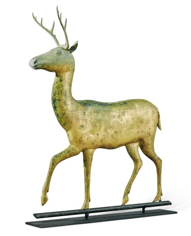 View 4. Thumbnail of Lot 1443. VERY FINE AND RARE MOLDED AND CAST FULL-BODIED GILT COPPER STAG WEATHERVANE, ATTRIBUTED TO A.L. JEWELL & CO., WALTHAM, MASSACHUSETTS, CIRCA 1870 .
