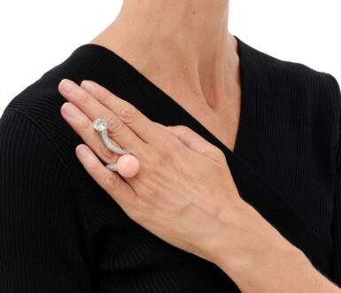 View 5. Thumbnail of Lot 71. PETOCHI | CORAL AND DIAMOND RING   (ANELLO CON CORALLO E DIAMANTI).