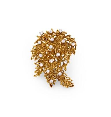 View 1. Thumbnail of Lot 65. Diamond brooch [Broche diamants].