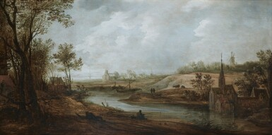 FRANS DE MOMPER   WIDE RIVER LANDSCAPE WITH A CHURCH, A WINDMILL AND A MONASTERY, WITH FIGURES RESTING ON A BANK AND FISHING