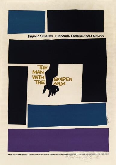 The Man with the Golden Arm (1955) poster, US, signed by Saul Bass