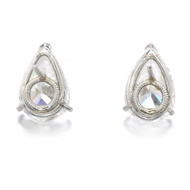 View 3. Thumbnail of Lot 1019. Pair of diamond ear studs.