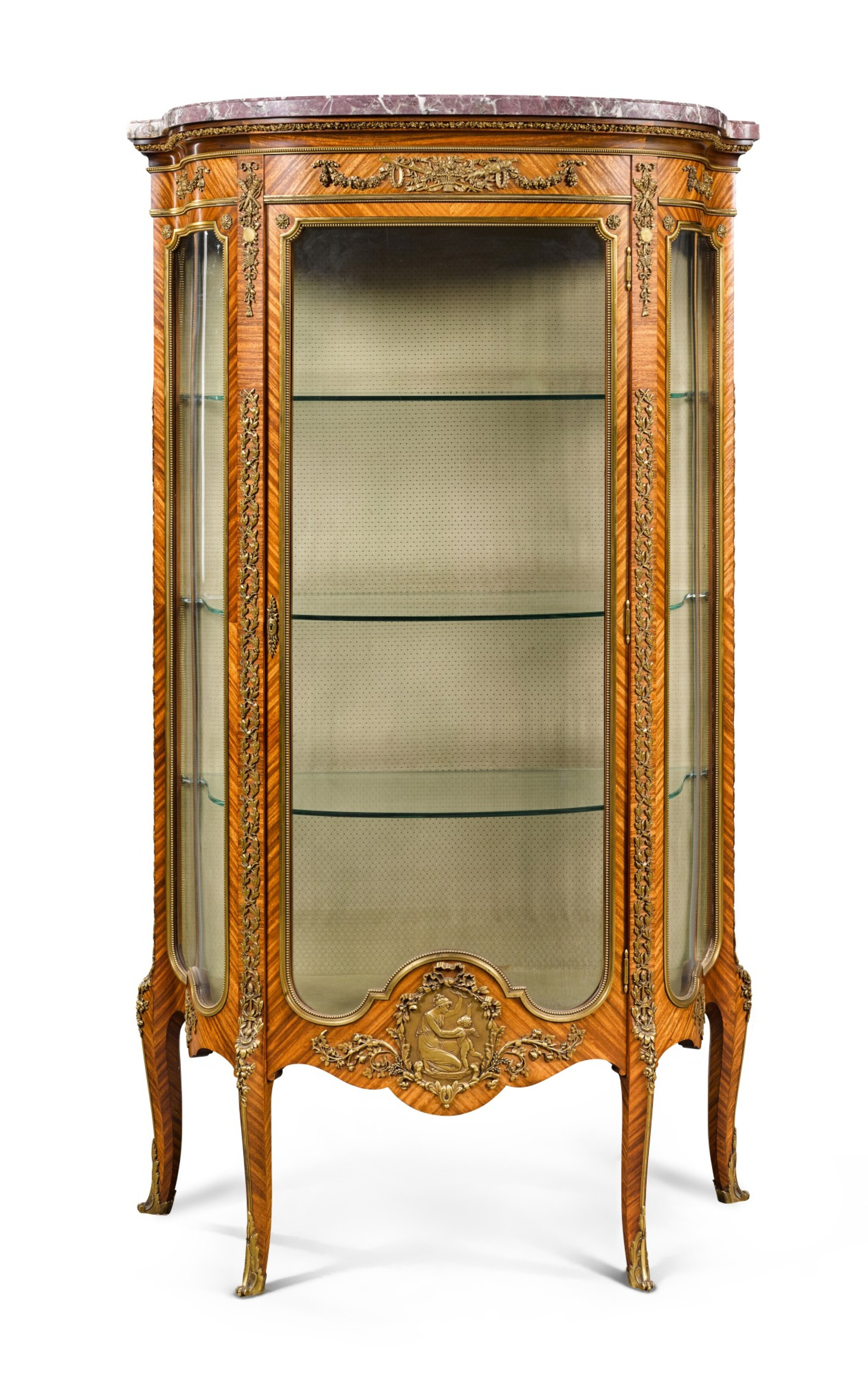 View full screen - View 1 of Lot 17. A FRENCH GILT-BRONZE MOUNTED TULIPWOOD VITRINE, BY FRANÇOIS LINKE, CIRCA 1900.
