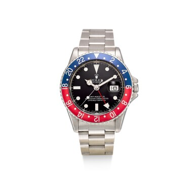 ROLEX   GMT-MASTER, REFERENCE 1675 A STAINLESS STEEL DUAL TIME ZONE WRISTWATCH WITH DATE, CIRCA 1972