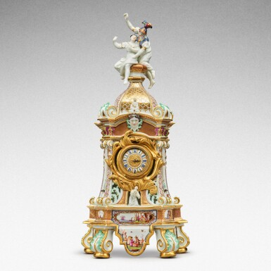 View 1. Thumbnail of Lot 64. A highly important documentary and dated Meissen mantel clock case, Dated 1727, the gilt-bronze mount probably German, mid-18th century, the movement signed Barrey à Paris, Circa 1700 .