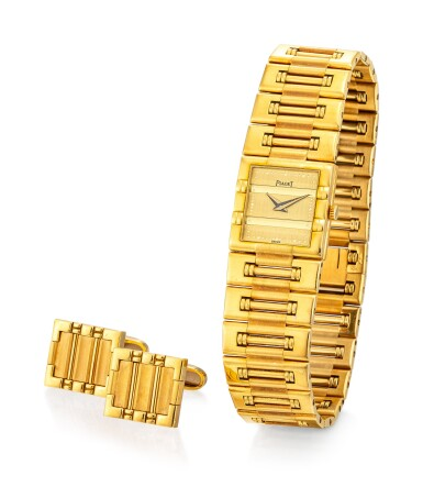 View 2. Thumbnail of Lot 1105. PIAGET   DANCER, REFERENCE 81317 K81 A YELLOW GOLD BRACELET WATCH WITH A PAIR OF ASSOCIATED CUFFLINKS, CIRCA 1990.