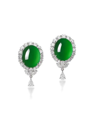 View 1. Thumbnail of Lot 1746. PAIR OF JADEITE AND DIAMOND PENDENT EARRINGS   天然「帝王綠」翡翠 配 鑽石 耳墜一對.