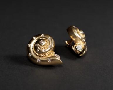 View 2. Thumbnail of Lot 39. Smooth Snail Diamond Earrings .