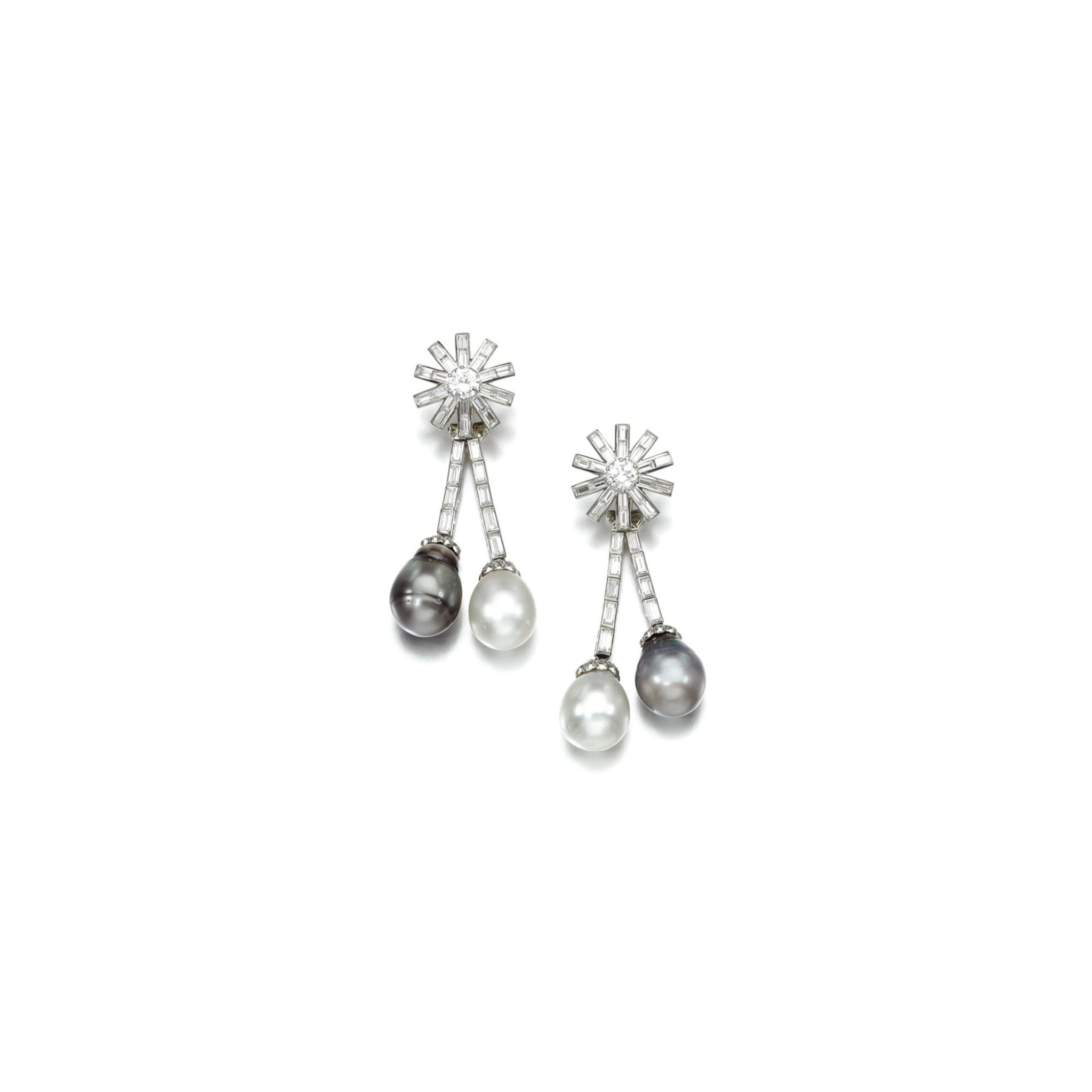View 1 of Lot 22. PAIR OF CULTURED PEARL AND DIAMOND EAR CLIPS.