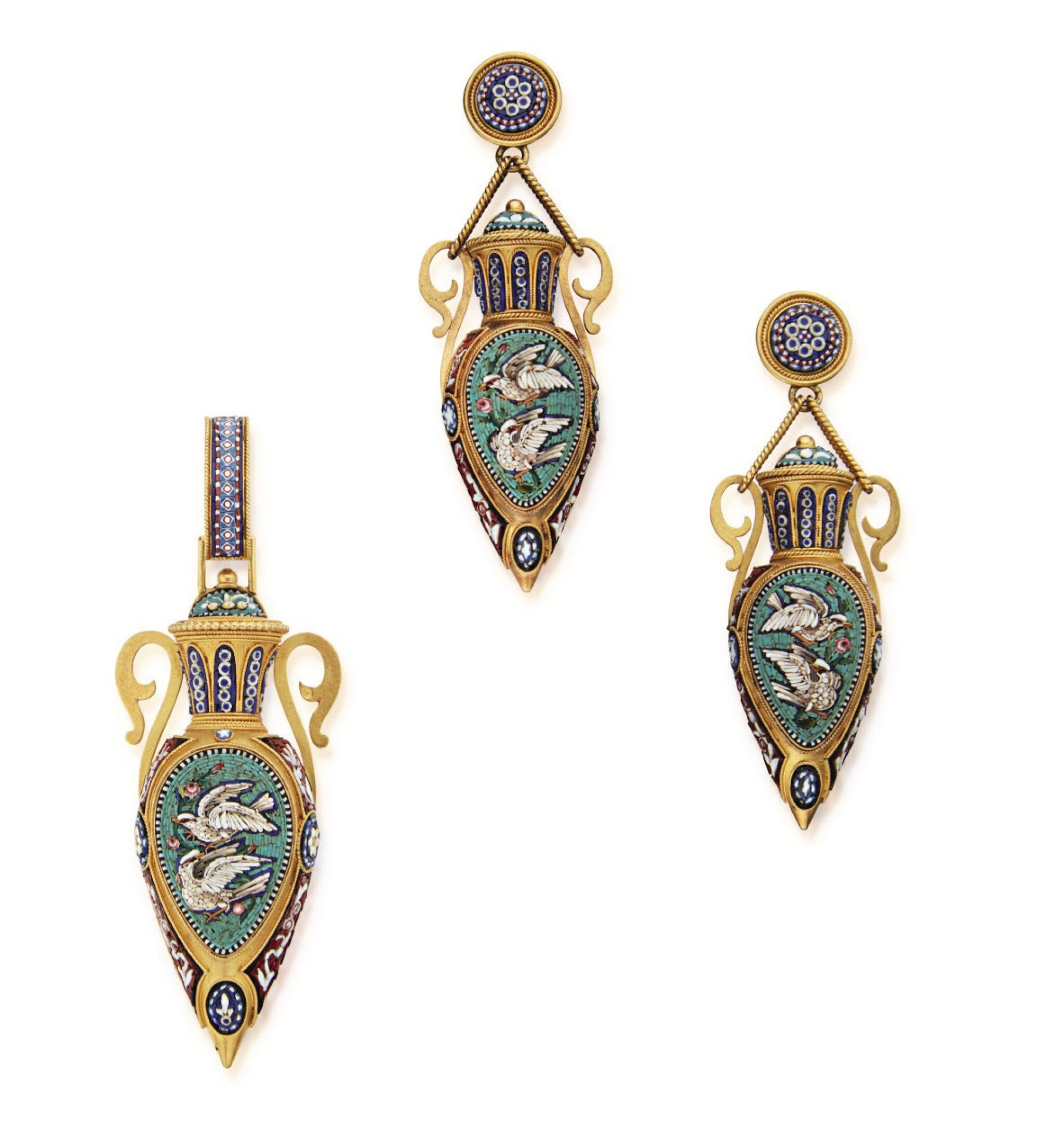 View full screen - View 1 of Lot 50. HUNT & ROSKELL | GOLD AND MICROMOSAIC PENDANT AND PAIR OF PENDANT-EARRINGS.