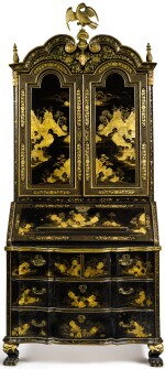 A CHINESE EXPORT BLACK AND GOLD LACQUER BUREAU CABINET, CIRCA 1730