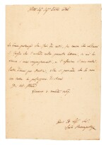 CARLO BONAPARTE | autograph letter signed, by Napoleon's father, to an unnamed gentleman, 1769